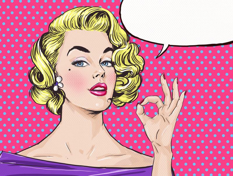 波普艺术中性感的女人用言语泡泡来表现OK符号-派对邀请函或生日贺卡-金发美女-好莱坞经典漫画风格
