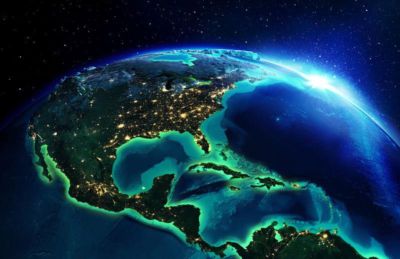 北美的陆地地区-美国之夜-美国国家航空航天局提供的这张图片的元素地图