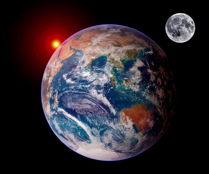 地球日出孤立的月球行星占星术天文学空间-这张图片的元素由美国宇航局提供