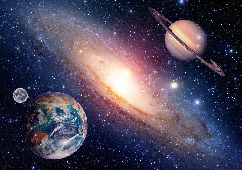 占星学天文学地月空间土星行星太阳系的创造-这张图片的元素由美国宇航局提供