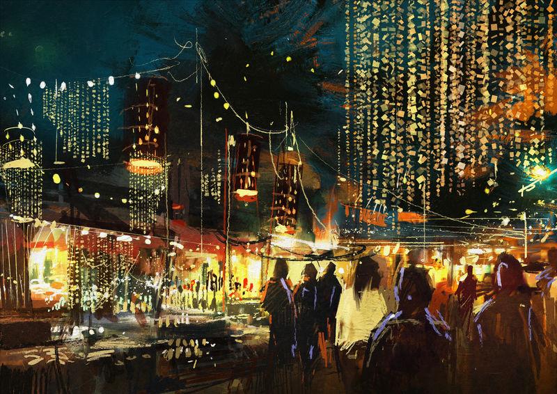 以丰富多彩的夜生活画购物街城市-插图