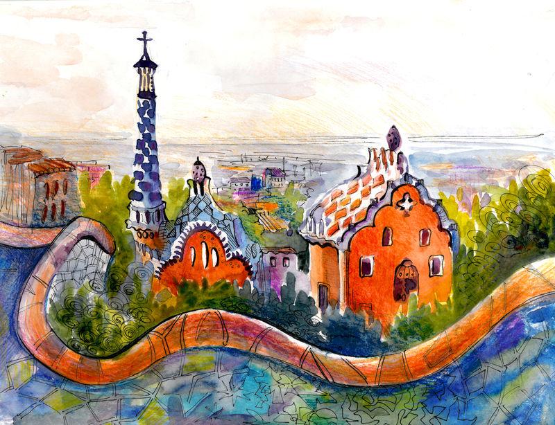 巴塞罗那安东尼奥公园风景如画的水彩插图海报印刷彩色绘画