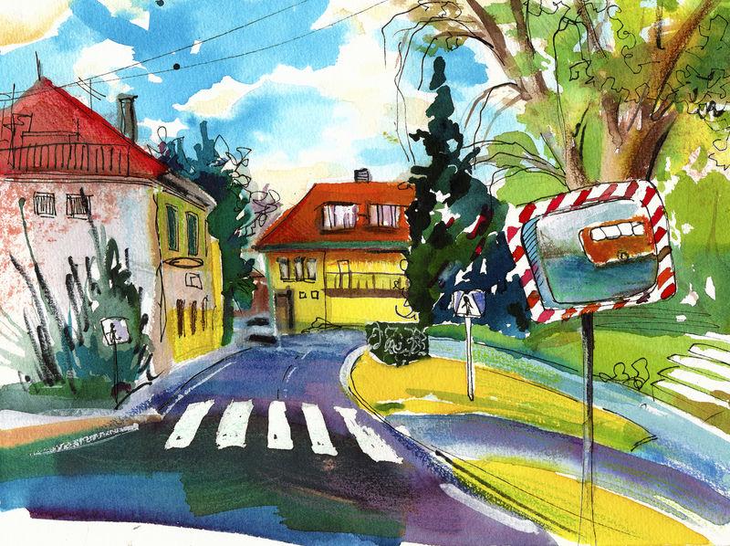 美丽有趣的插图-小城镇的红楼屋顶和树木水彩画