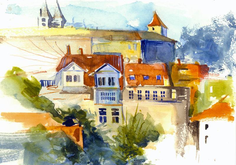 红色和橙色屋顶的小房子的有趣和如画的景色假期插图水彩画