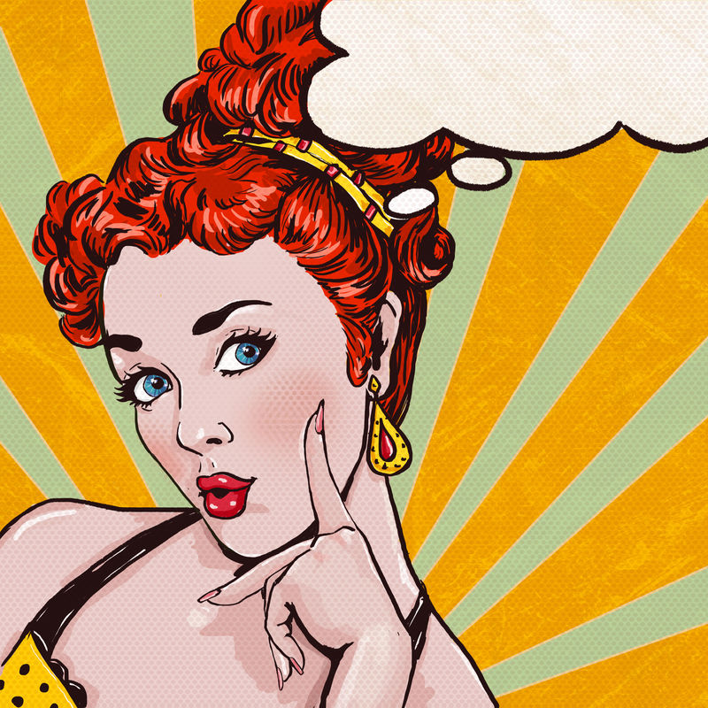 波普艺术作品中的卷发女人的讲话泡泡-派对邀请或生日贺卡设计