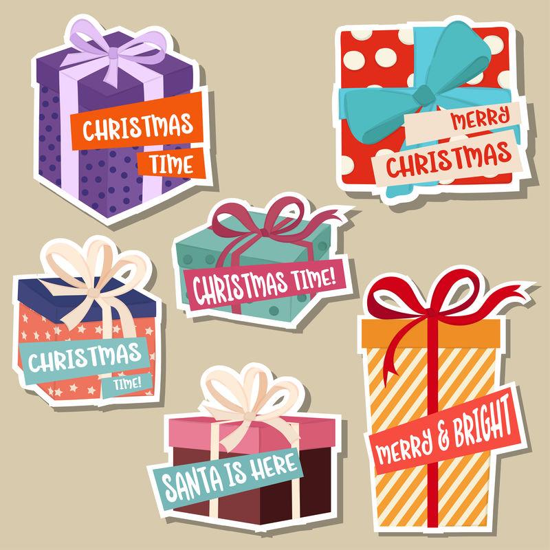带礼品盒的圣诞贴纸系列