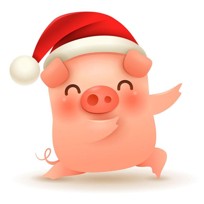 带圣诞老人红帽子的小猪-新年快乐