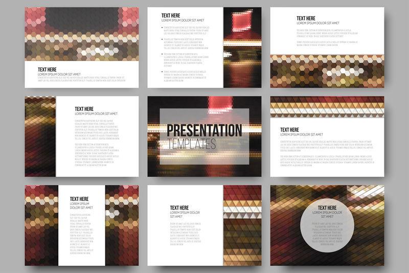 演示文稿幻灯片的9个模板集。城市里的夜灯。抽象多彩的背景。自然几何图案。三角形和六角形矢量图
