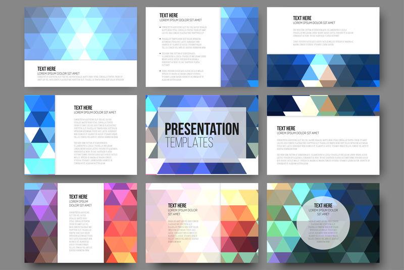 演示文稿幻灯片的9个模板集。抽象生动的背景。三角形设计向量