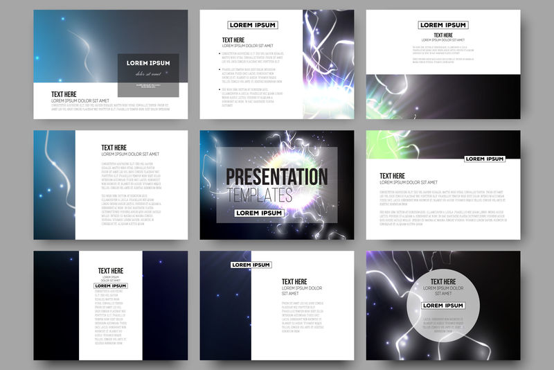 演示文稿幻灯片的9个模板集。电照明效果。闪电的魔法矢量背景。