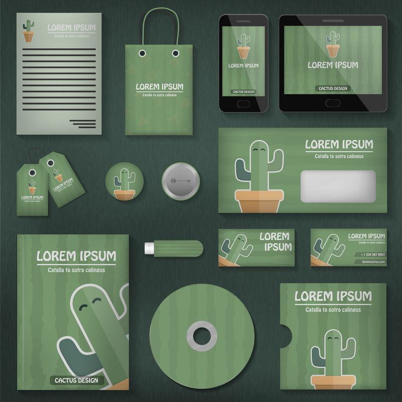 矢量逼真的仙人掌主题模型品牌-品牌、营销和企业模板的商业概念
