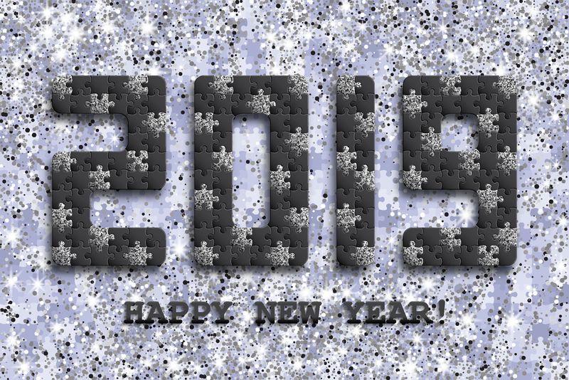 2019年拼图背景与许多银光和黑色块-新年贺卡设计-抽象马赛克模板-矢量图