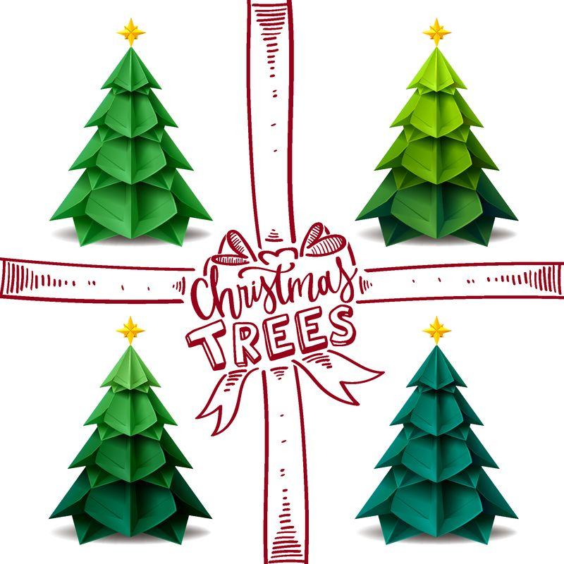 圣诞树折纸工艺设计矢量图