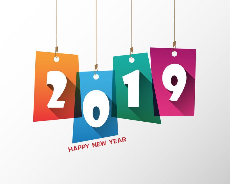 2019年新年快乐。问候卡。丰富多彩的设计。向量Ill