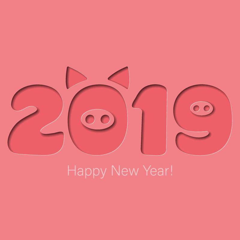新年快乐横幅-猪头-猪鼻子-动物标志2019-祝贺文-海报粉色背景-贺卡-横幅设计-剪纸风格
