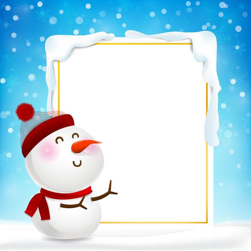 空白矩形框架和雪人卡通-复制空间和冬天的雪花落在雪地上-蓝色抽象背景上的灯光用于圣诞矢量图