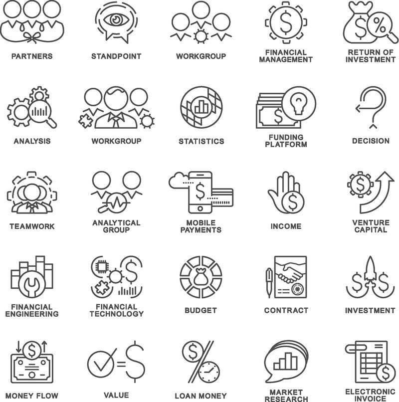 用于与客户沟通、培训和互动的图标-细轮廓线