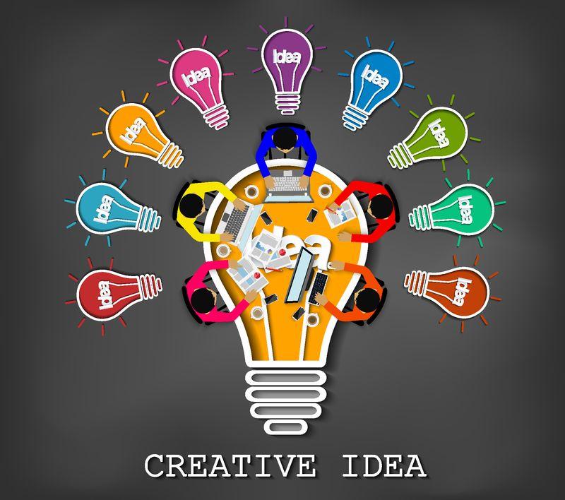 创意-灵感规划灯泡图标概念画在黑板背景上-团队合作-商人帮助头脑风暴-以获得更高的成功-矢量图解