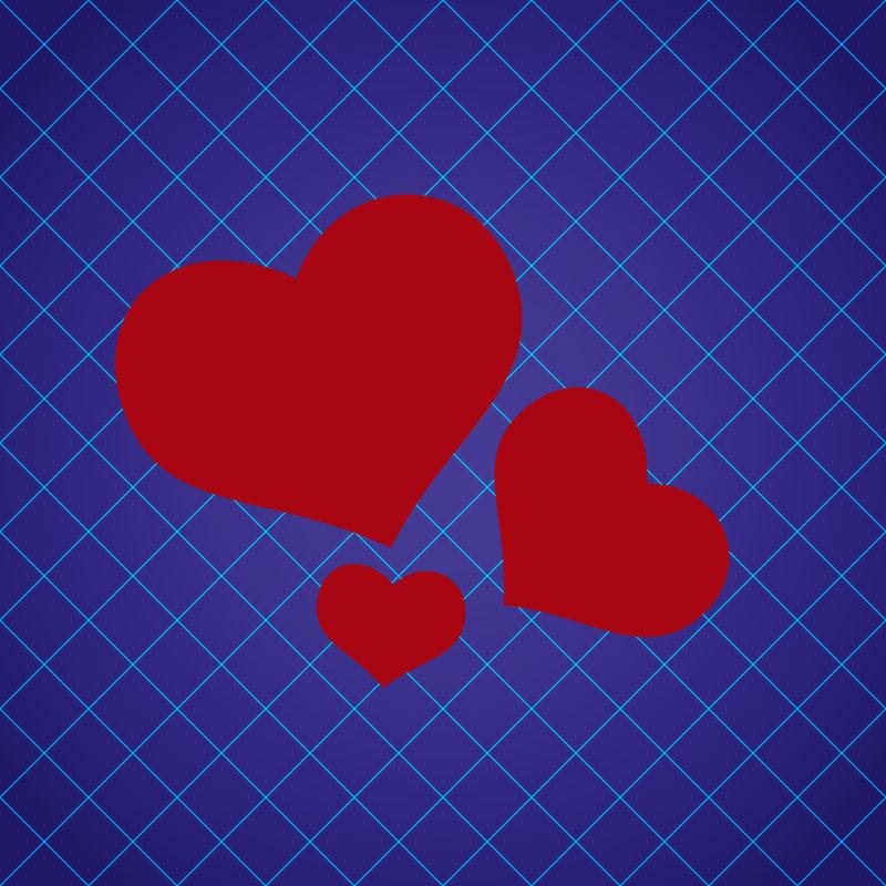 抽象花纹蓝色图案,带红色爱心EPS10