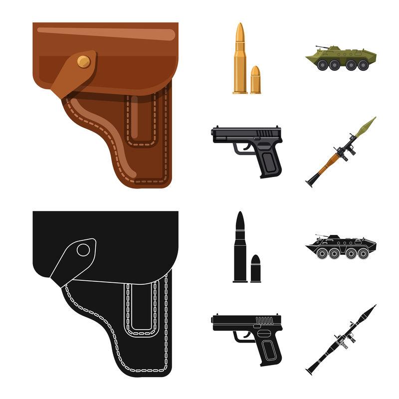 武器和枪图标的矢量图-一套武器和陆军库存矢量图