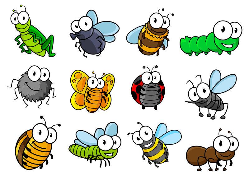 彩色卡通昆虫人物集