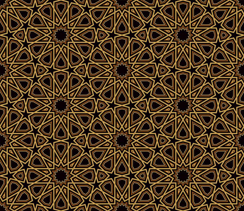 阿拉伯式黑色和金色图案-深色背景-矢量插图