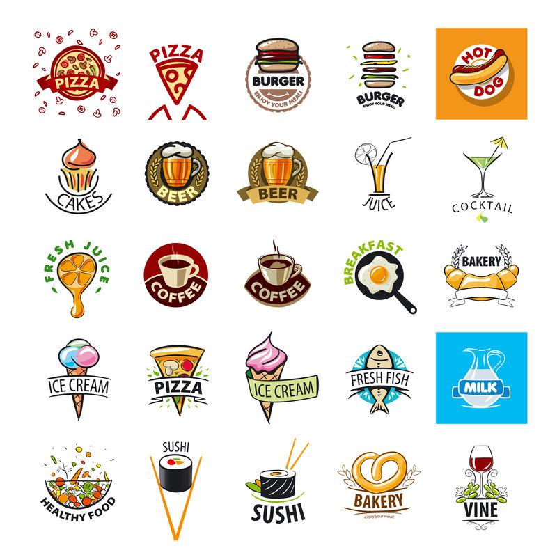 最大的矢量标识食物集合