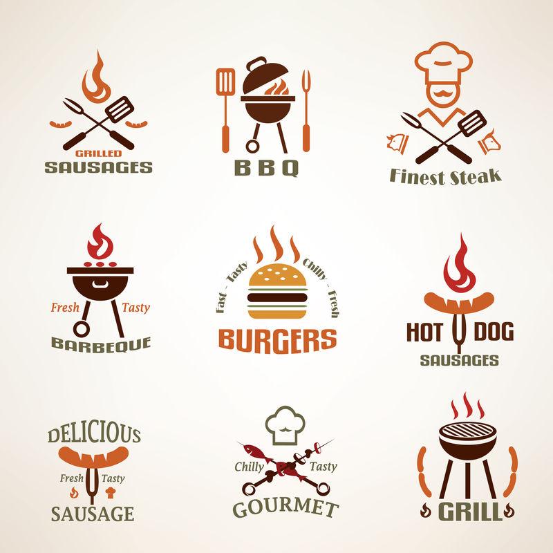 一套老式烧烤和烧烤标签、徽章和设计元素
