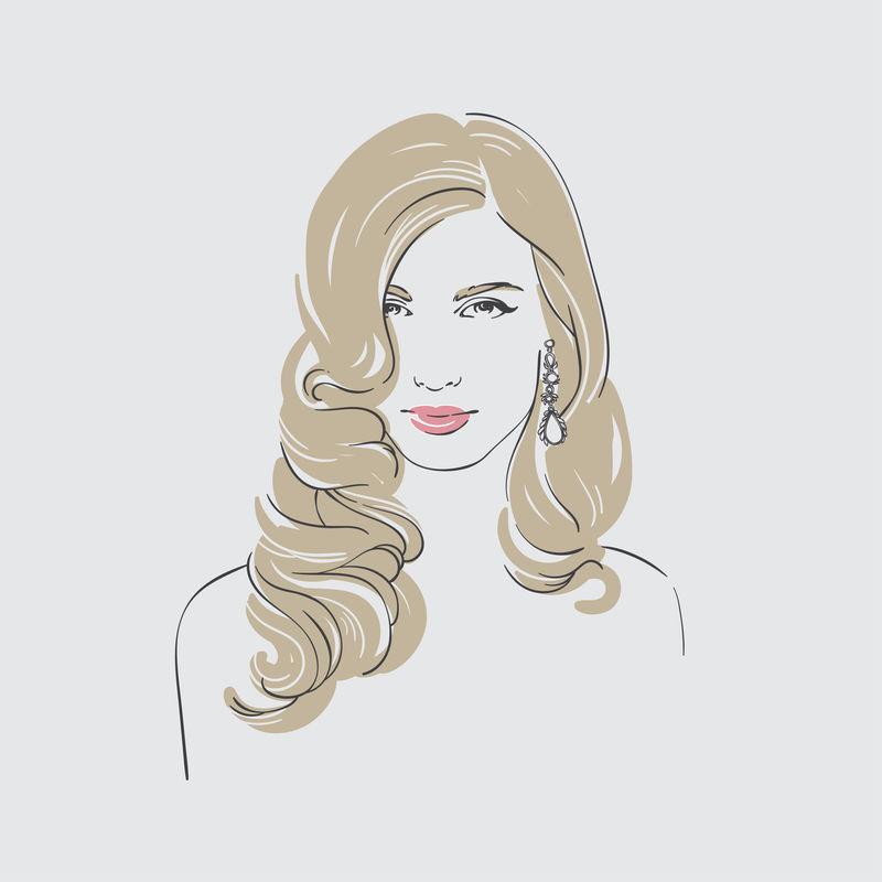 美丽的金发女郎,复古的长发,挂着石头耳环,手绘线条矢量图。