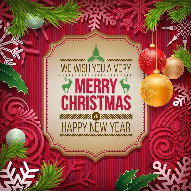 卡片上的圣诞祝福和新年祝福-彩色背景下的圣诞节相关饰品-元素分别在向量文件中分层