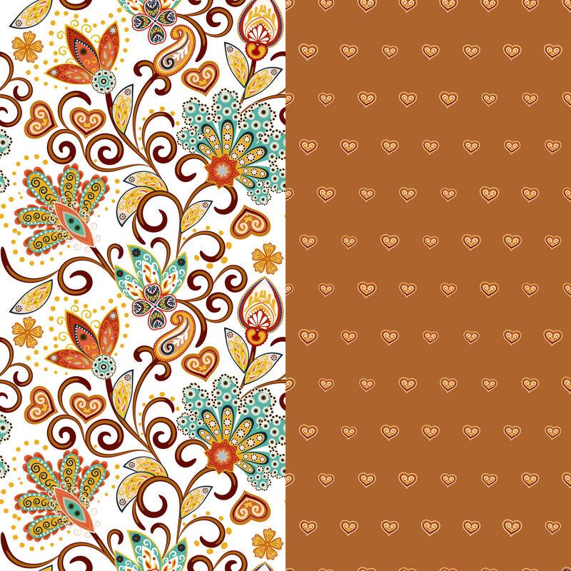 一套两个水平无缝花卉图案与佩斯利和梦幻花卉边界。衣服、床上用品、衣服织物等的手绘纹理。棕色