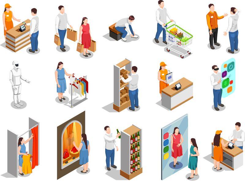 商业消费者在服装安装、产品选择、出纳付款等距人流隔离向量图
