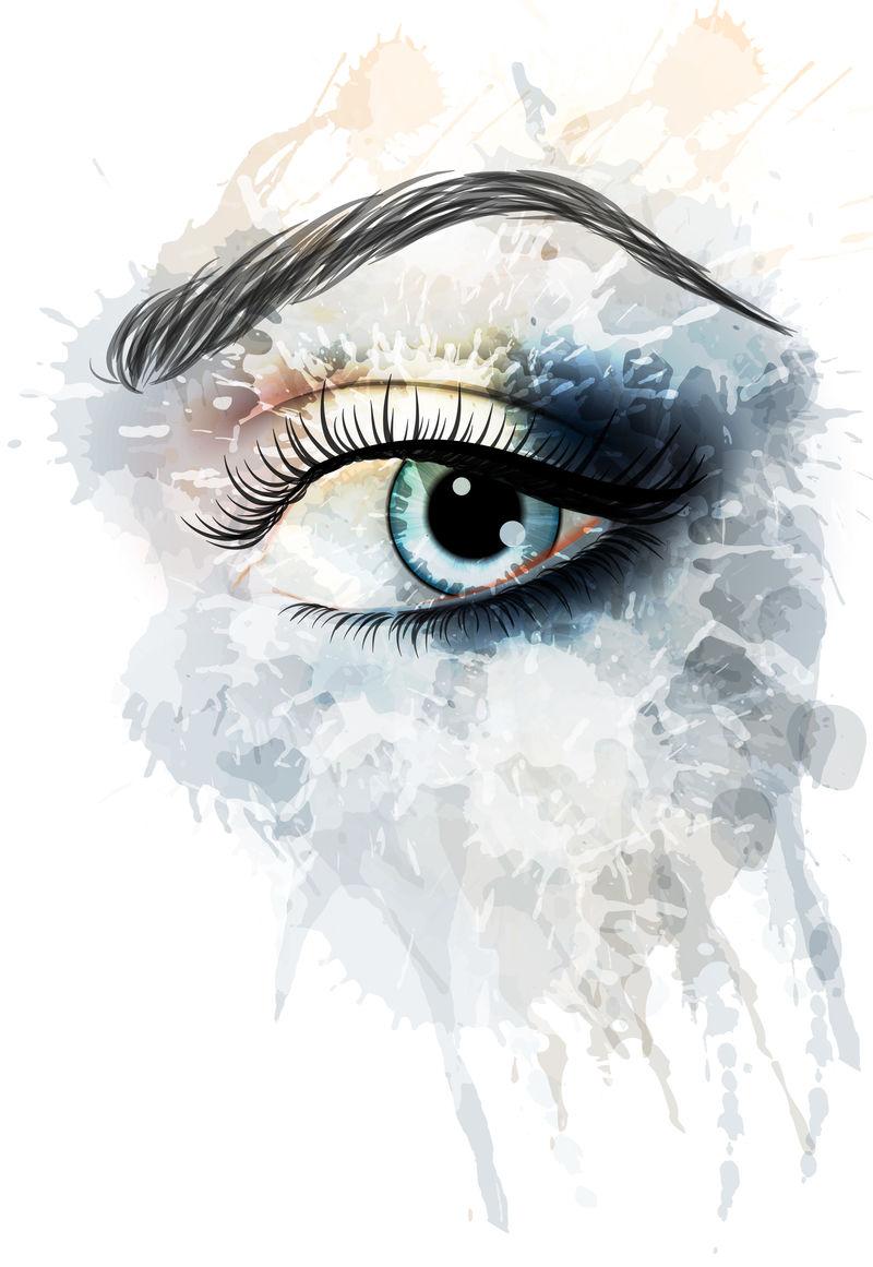 水彩喷溅的眼睛