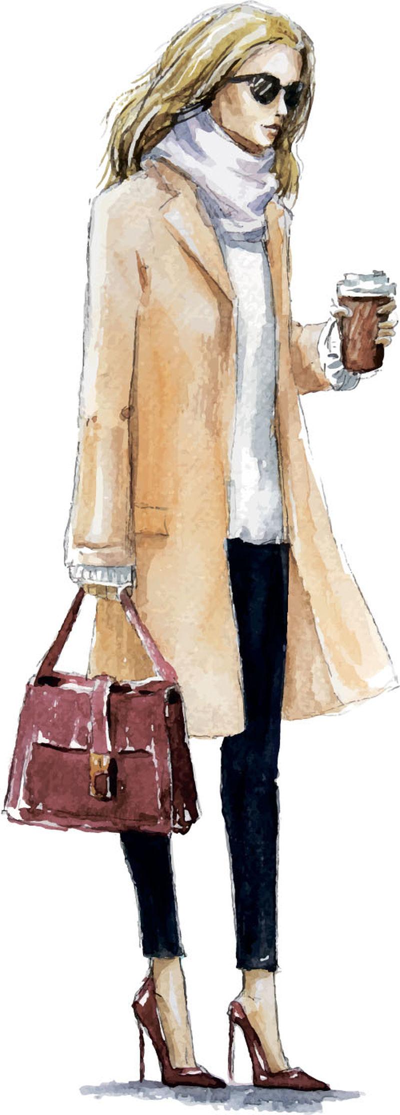 戴帽子的漂亮年轻女子-穿着时尚服装的时髦女人-时尚女士-秋季服装-拿着咖啡杯的手绘女孩-素描