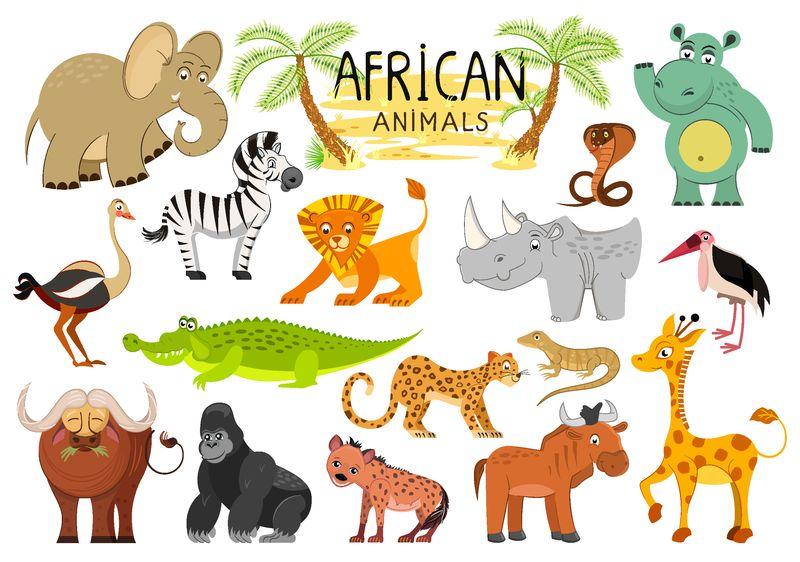 白底非洲动物收藏-矢量图解