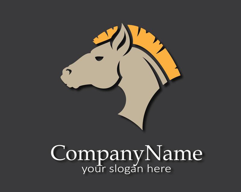 马标志设计、模板、轮廓、商业标志