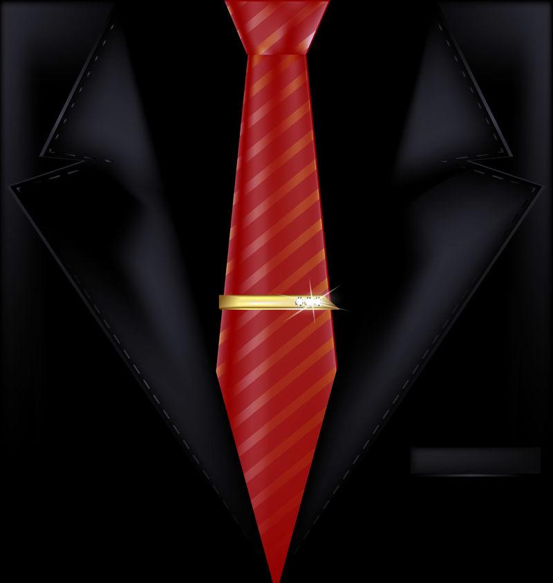黑西装红领带