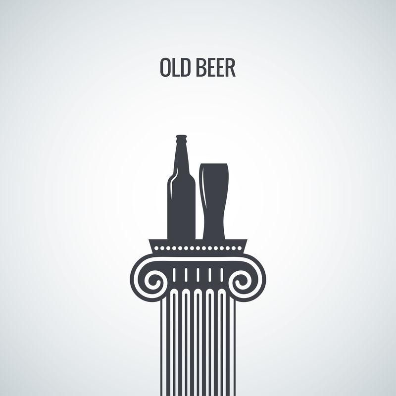 啤酒瓶玻璃经典设计背景