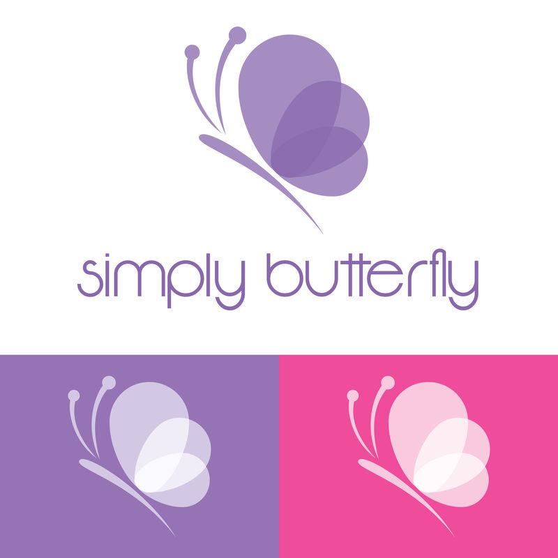 矢量-蝴蝶概念简单-彩色图标-标志-矢量图解
