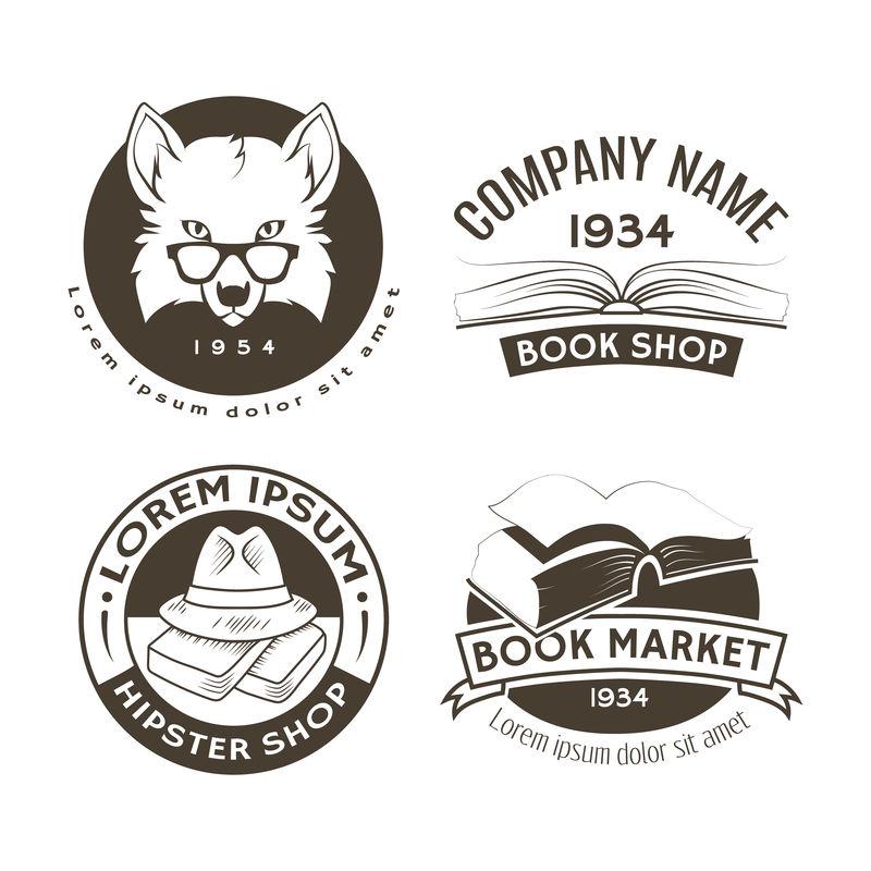Hipster徽标和标签集。