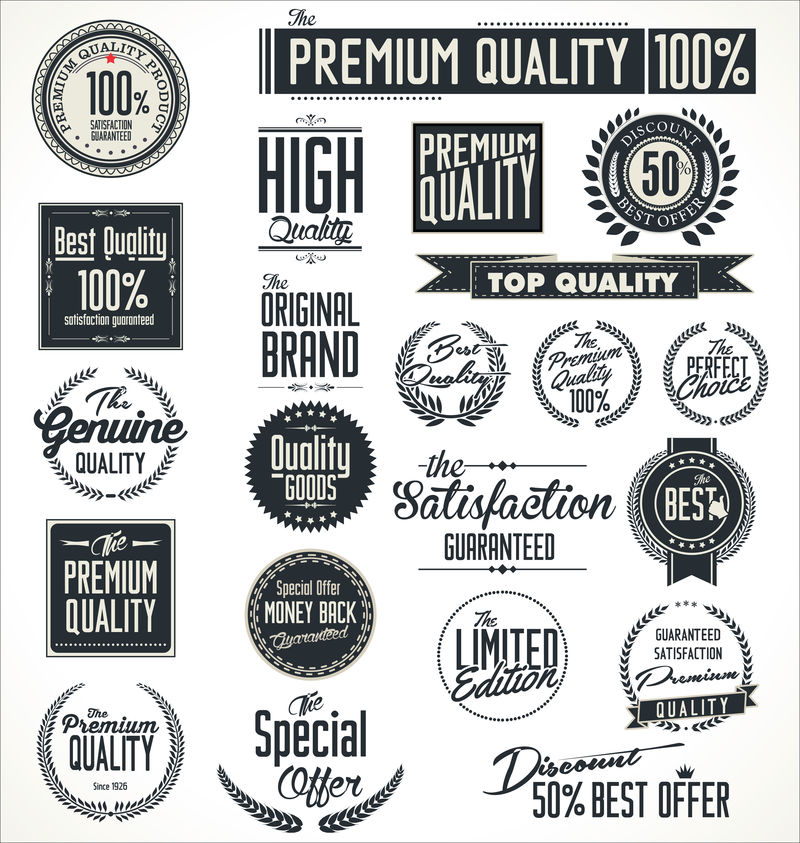 优质贴纸和元素复古设计