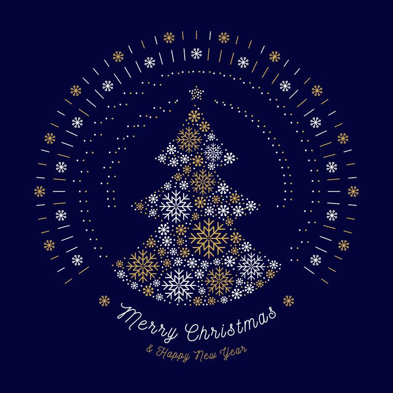 圣诞贺卡抽象树,单线太阳爆发,雪花