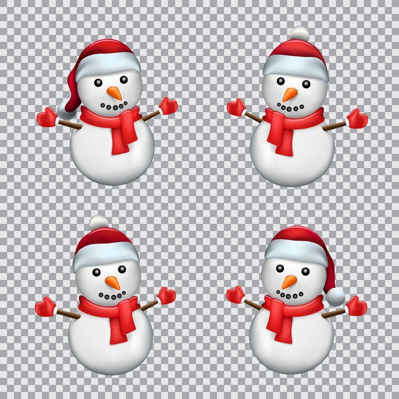 雪人穿着透明背景的圣诞红帽子和围巾-圣诞节系列