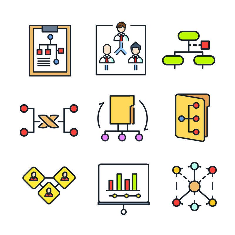 链接图标集-向量集关于网络-万维网-分子和网络图标集