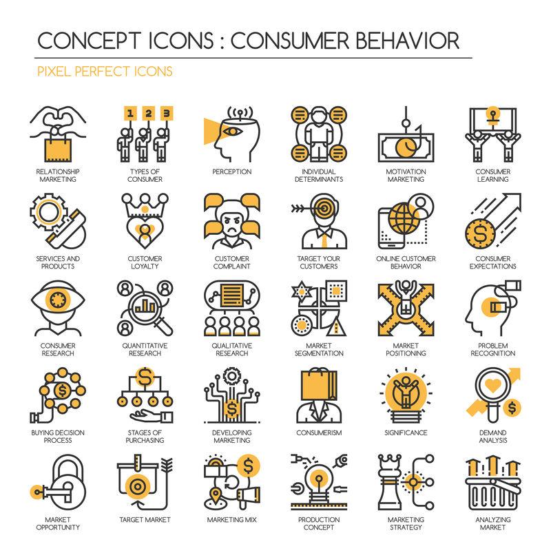 消费者行为、细线和像素完美图标