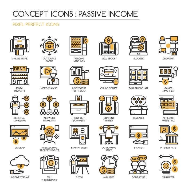 被动收入机会、细线和像素完美图标