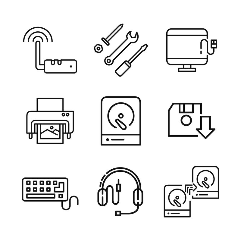 细线图标集-鼠标矢量、桌面、笔记本电脑、打印机、监视器脉冲、病毒、支持、游戏板、触摸屏、共享、HDMI、网络、文件夹、无线、文档、管理器、芯片、指纹