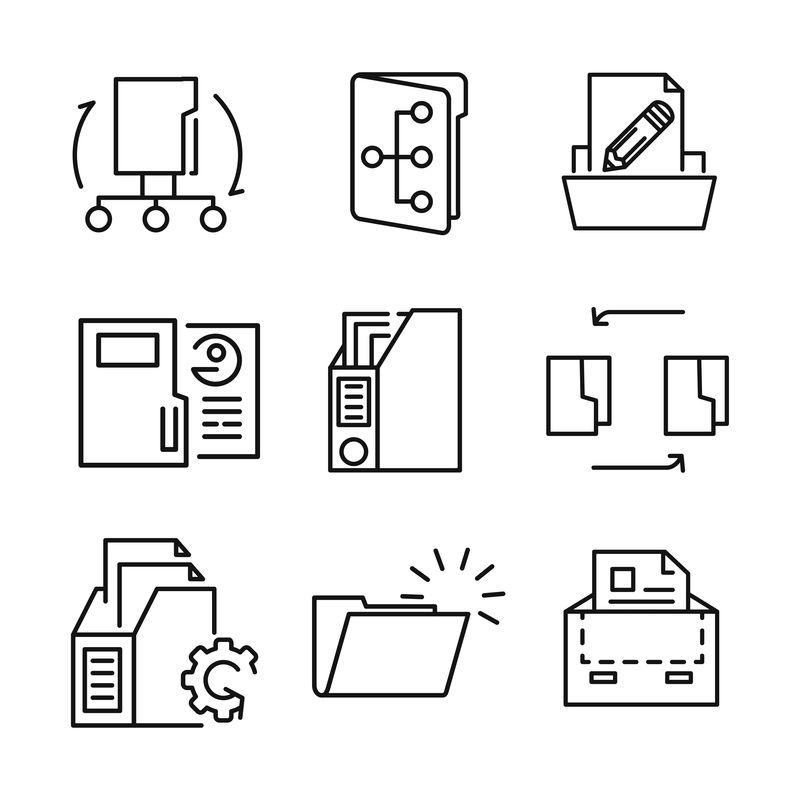细线图标集-Office活页夹矢量、文档搜索、收据、文件夹、照片库、纸张、托盘、存档盒、USB闪存