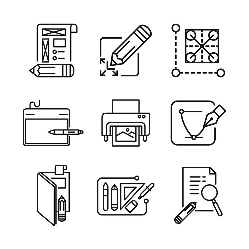 细线图标集-笔矢量、文档、植物标签、别针、收据、库、文件夹、剪切、剪贴板、绘图、回形针、活页夹、打印机、托盘、复印机、合同、书籍、订书机、平面图、服务