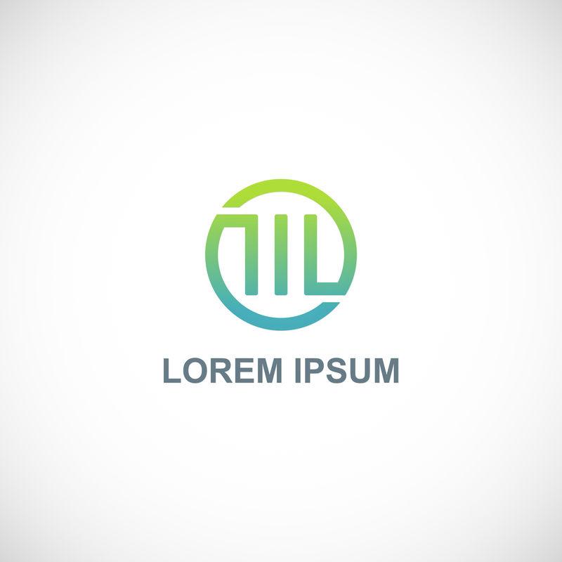 字母M标志-创意绿圈-优雅的书法-公司标志设计-矢量图解